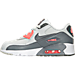 Left view of Girls' Preschool Nike Air Max 90 Leather Running Shoes in Pure Platinum/Cool Grey/Lava Glow
