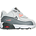 Right view of Girls' Toddler Nike Air Max 90 Leather Running Shoes in Pure Platinum/Cool Grey/Lava Glow