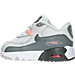 Left view of Girls' Toddler Nike Air Max 90 Leather Running Shoes in Pure Platinum/Cool Grey/Lava Glow