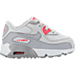 Right view of Girls' Toddler Nike Air Max 90 Leather Running Shoes in Pure Platinum/Wolf Grey/Racer Pink