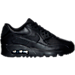 Right view of Boys' Grade School Nike Air Max 90 Leather Running Shoes in Black/Black