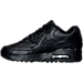 Left view of Boys' Grade School Nike Air Max 90 Leather Running Shoes in Black/Black