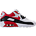 Right view of Boys' Grade School Nike Air Max 90 Leather Running Shoes in White/University Red/Black/Wolf Grey