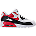 Right view of Boys' Preschool Nike Air Max 90 Leather Running Shoes in White/University Red/Black