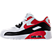 Left view of Boys' Preschool Nike Air Max 90 Leather Running Shoes in White/University Red/Black