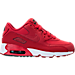 Right view of Boys' Preschool Nike Air Max 90 Leather Running Shoes in Gym Red/Black/White