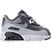 Right view of Boys' Toddler Nike Air Max 90 Leather Running Shoes in Cool Grey/Wolf Grey/Pure Platinum