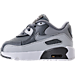 Left view of Boys' Toddler Nike Air Max 90 Leather Running Shoes in Cool Grey/Wolf Grey/Pure Platinum