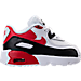 Right view of Boys' Toddler Nike Air Max 90 Leather Running Shoes in White/University Red/Black/Grey