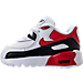 Left view of Boys' Toddler Nike Air Max 90 Leather Running Shoes in White/University Red/Black/Grey