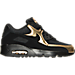 Right view of Boys' Grade School Nike Air Max 90 Mesh Running Shoes in Black/Black/Metallic Gold