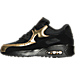 Left view of Boys' Grade School Nike Air Max 90 Mesh Running Shoes in Black/Black/Metallic Gold