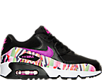 Girls' Grade School Nike Air Max 90 Print Mesh Running Shoes