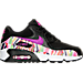 Right view of Girls' Grade School Nike Air Max 90 Print Mesh Running Shoes in Black/Hyper Volt