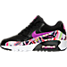 Left view of Girls' Grade School Nike Air Max 90 Print Mesh Running Shoes in Black/Hyper Volt