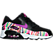 Right view of Girls' Preschool Nike Air Max 90 SE Mesh Running Shoes in Black/Hyper Violet/Hyper Violet