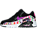 Left view of Girls' Preschool Nike Air Max 90 SE Mesh Running Shoes in Black/Hyper Violet/Hyper Violet