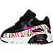 Left view of Girls' Toddler Nike Air Max 90 SE Mesh Running Shoes in Black/Hyper Violet/Hyper Violet