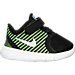 Right view of Boys' Toddler Nike Free Commuter Running Shoes in Black/Reflect Silver/Electric Green