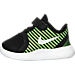 Left view of Boys' Toddler Nike Free Commuter Running Shoes in Black/Reflect Silver/Electric Green