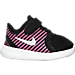 Right view of Girls' Toddler Nike Free Commuter Running Shoes in Black/Reflect Silver/Pink