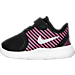Left view of Girls' Toddler Nike Free Commuter Running Shoes in Black/Reflect Silver/Pink