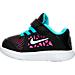 Left view of Girls' Toddler Nike Flex 2016 Running Shoes in Black/Volt/Gamma Blue/Pink Blast