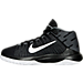 Left view of Boys' Grade School Nike Zoom Ascention Basketball Shoes in Black/White
