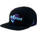 Front view of Jordan Space Jam Snapback Hat in Black/Concord