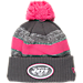 Front view of New Era New York Jets NFL 2016 Breast Cancer Awareness Sport Knit Hat in Grey/Pink