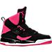 Right view of Girls' Grade School Jordan Flight 45 High IP (3.5y-9.5y) Basketball Shoes in Black/Vivid Pink/Vivid Pink/White