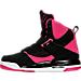 Left view of Girls' Grade School Jordan Flight 45 High IP (3.5y-9.5y) Basketball Shoes in Black/Vivid Pink/Vivid Pink/White