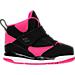 Right view of Girls' Toddler Jordan Flight 45 High Basketball Shoes in Black/Vivid Pink/White