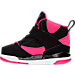 Left view of Girls' Toddler Jordan Flight 45 High Basketball Shoes in Black/Vivid Pink/White