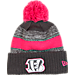 Front view of New Era Cincinnati Bengals NFL 2016 Breast Cancer Awareness Sport Knit Hat in Grey/Pink