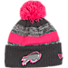 Front view of New Era Buffalo Bills NFL 2016 Breast Cancer Awareness Sport Knit Hat in Grey/Pink