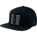Front view of Air Jordan Retro 11 Low Snapback Hat in Black/Gym Red