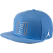 Front view of Air Jordan Retro 11 Low Snapback Hat in University Blue/White