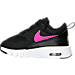 Left view of Girls' Toddler Nike Air Max Thea Running Shoes in Black/Hyper Pink/White