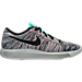 Right view of Women's Nike LunarEpic Low Flyknit Running Shoes in White/Black/Bright Mango/Gamma Blue