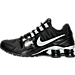Left view of Women's Nike Shox Avenue Running Shoes in Black/White/Metallic Silver