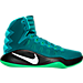 Right view of Men's Nike Hyperdunk 2016 Basketball Shoes in Rio Teal/White/Green Spark