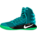 Left view of Men's Nike Hyperdunk 2016 Basketball Shoes in Rio Teal/White/Green Spark