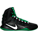 Right view of Men's Nike Hyperdunk 2016 BLK Basketball Shoes in Black/White/Pine Green