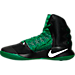 Left view of Men's Nike Hyperdunk 2016 BLK Basketball Shoes in Black/White/Pine Green