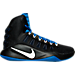 Right view of Men's Nike Hyperdunk 2016 BLK Basketball Shoes in Black/White/Game Royal