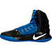 Left view of Men's Nike Hyperdunk 2016 BLK Basketball Shoes in Black/White/Game Royal
