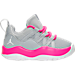 Right view of Girls' Toddler Jordan Deca Fly Running Shoes in Wolf Grey/White/Hyper Pink