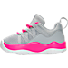 Left view of Girls' Toddler Jordan Deca Fly Running Shoes in Wolf Grey/White/Hyper Pink