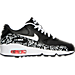 Right view of Girls' Grade School Nike Air Max 90 Print Leather Running Shoes in Black/White/Lava Glow